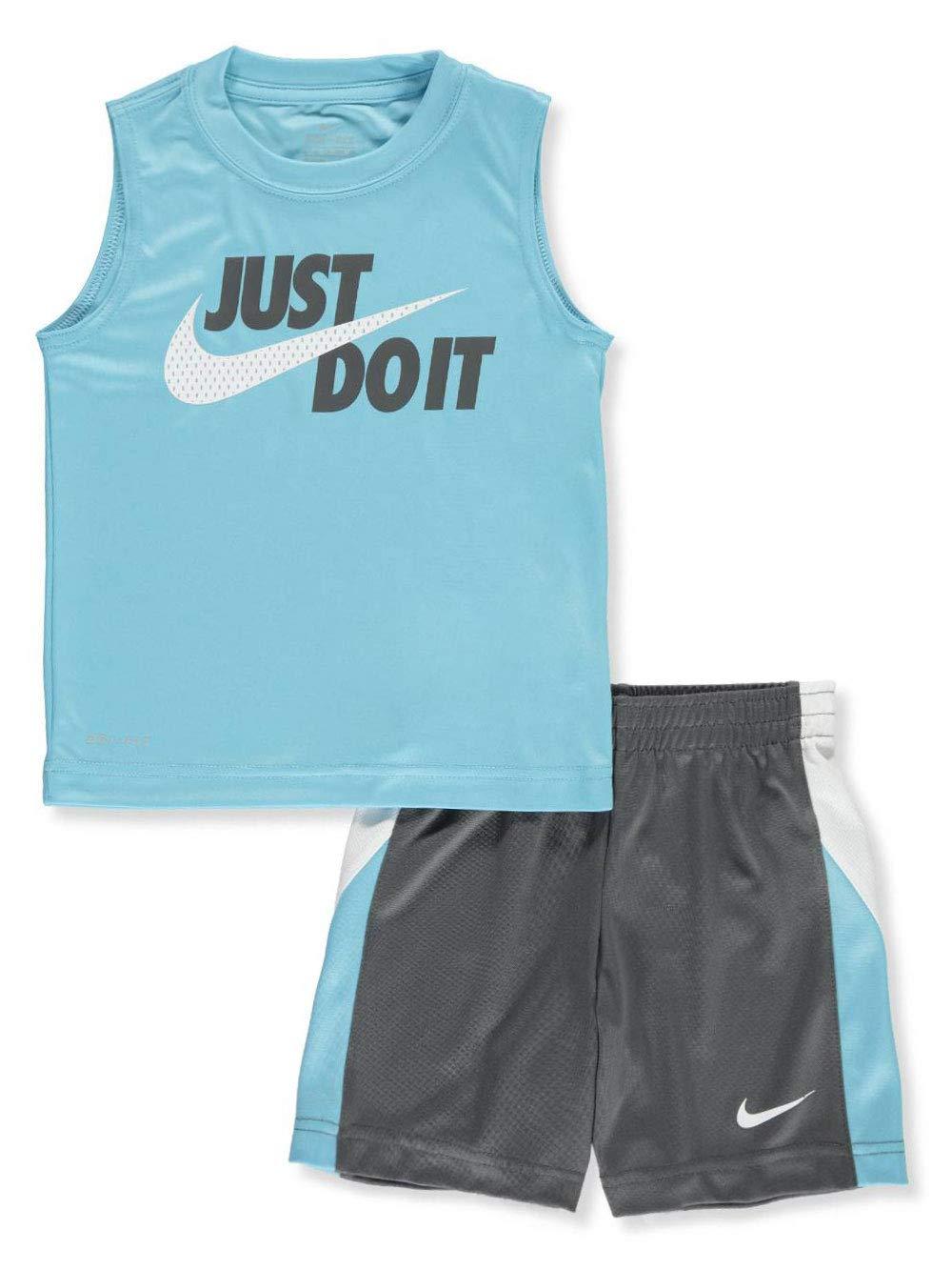Nike Boys' 2-Piece Shorts Set Outfit - Dark Gray/Light Blue, 7