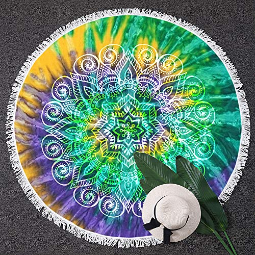 BlessLiving Lotus Flower Tie Dye Large Circular Terry Beach Throw Yellow Purple Green Mandala Beach Towel Blanket (59 inch) (Terry Tie Dye)