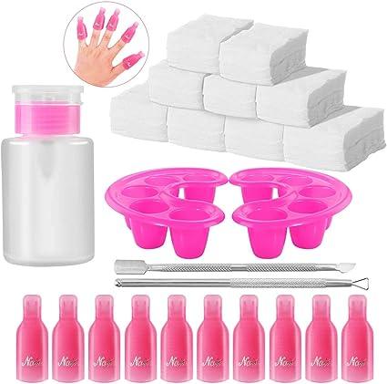 El juego de herramientas para remover esmalte de uñas, incluye ...