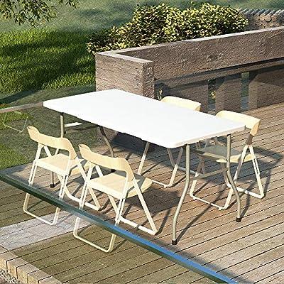 152x71x74cm sogesfurniture Tavolo Pieghevole da Picnic da Giardino Bianco da Cucina da Giardino HP-152CZ-BH Perfetto Come Tavolo da Campeggio Portatile con Maniglia da Buffet