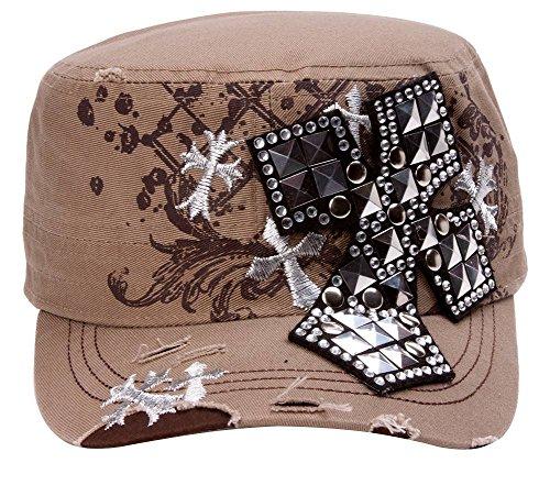 TopHeadwear Studded Cross Distressed Cadet Cap - Khaki