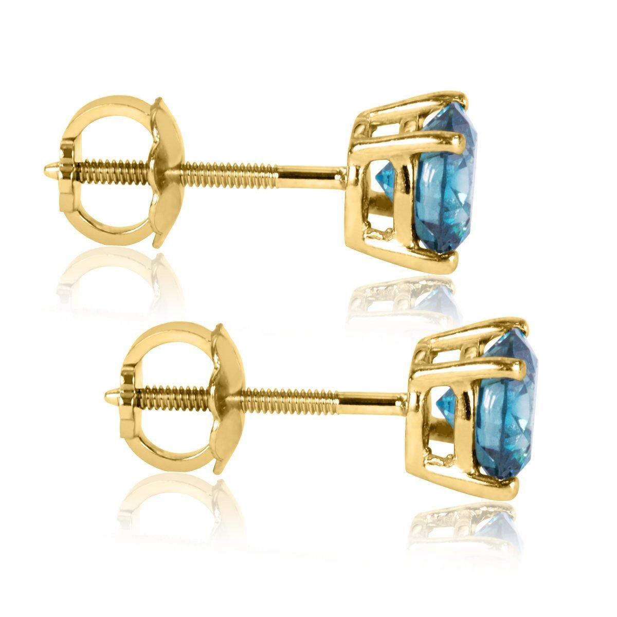 1 6 Carat Premium Blue Diamond Solitaire Screw Back Stud Earrings Pair in 14k