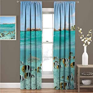 "GUUVOR Ocean 99% Blackout Curtains Blacktip Reef Shark Chasing Butterfly Fish Lagoon of Bora Bora Tahiti for Bedroom Kindergarten Living Room Curtain 42"" Wide x 84"" Long Aqua Yellow and Black"