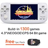 4.3 inch Screen 64 Bit Handheld Video Game Console Build in 1300 No-Repeat Game for NEOGEOCPSGBAGBCGBSFCFCMDGGSMS MP3/4 (GM01065WhiteUS) by JXD