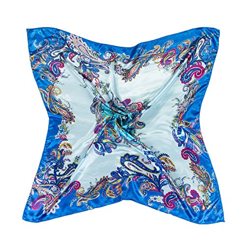 Neck Shawl (Women Flower Painted Imitated Silk Satin Square Scarf Head Neck Shawl 35