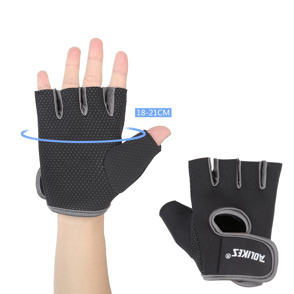 DOB AOLIKES Gym Gloves, Fitness Exercise Workout Weight Lifting Sport Gloves, Pair, Black