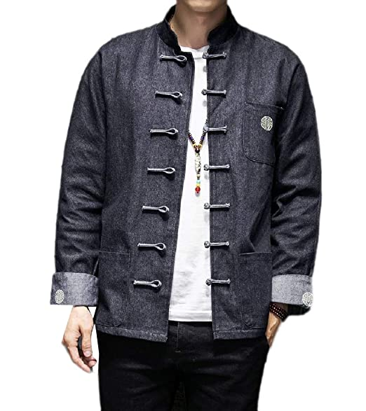 Ziaesm Men Cozy Chinese Style Embroidered Denim Jean Jacket Coats Outerwear   Amazon.in  Clothing   Accessories 6c211f767