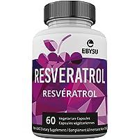 EBYSU Resveratrol - Trans Resveratrol Antioxidant Supplement - Pomegranate, Green Tea, Quercetin, Grape Seed Extract and Acai - 60 Vegan Capsules