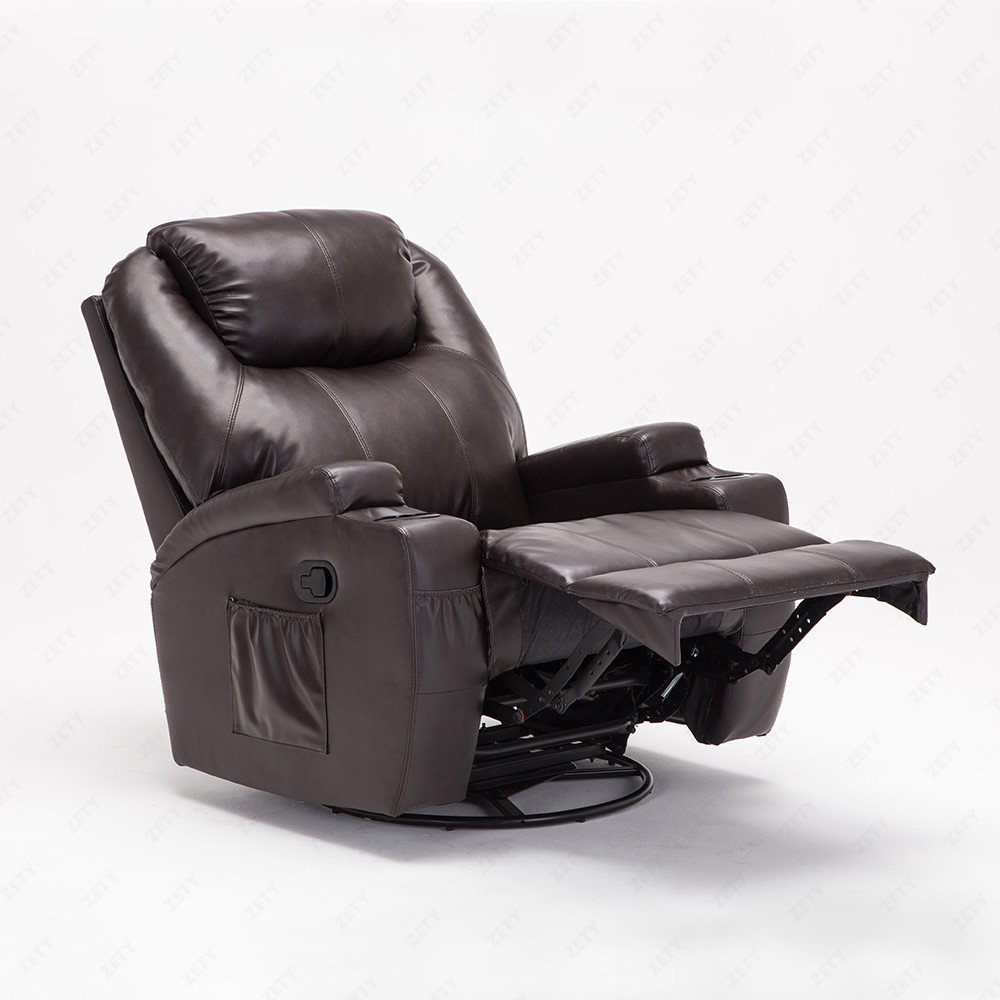 Murtisol Massage Recliner Lounge with Heat and Massage Vibrating Sofa Chair with Quality PU Leather (Brown)