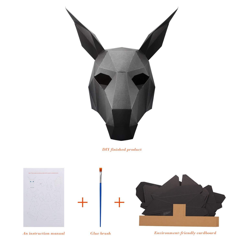 BIEE M/áscara de Papel 3D moldes de Cabeza de Animal para Halloween Fiestas Disfraces Cosplay Papel Facial Kit de Manualidades