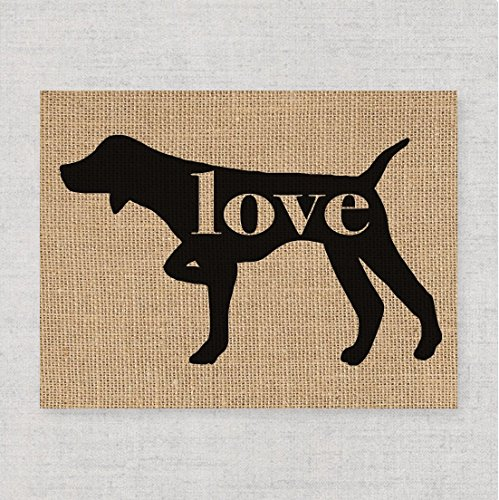 - German Shorthaired Pointer (Pointing) Love - A Print on Your Choice of Fine Art Paper or Burlap - Can Be Personalized