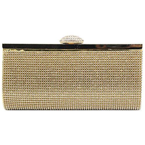 Womens Silver Clutch Party Gold Handbag Case Purse Glitter Lady Bag Rhinestone Wiwsi Crystal IwPBxYq7