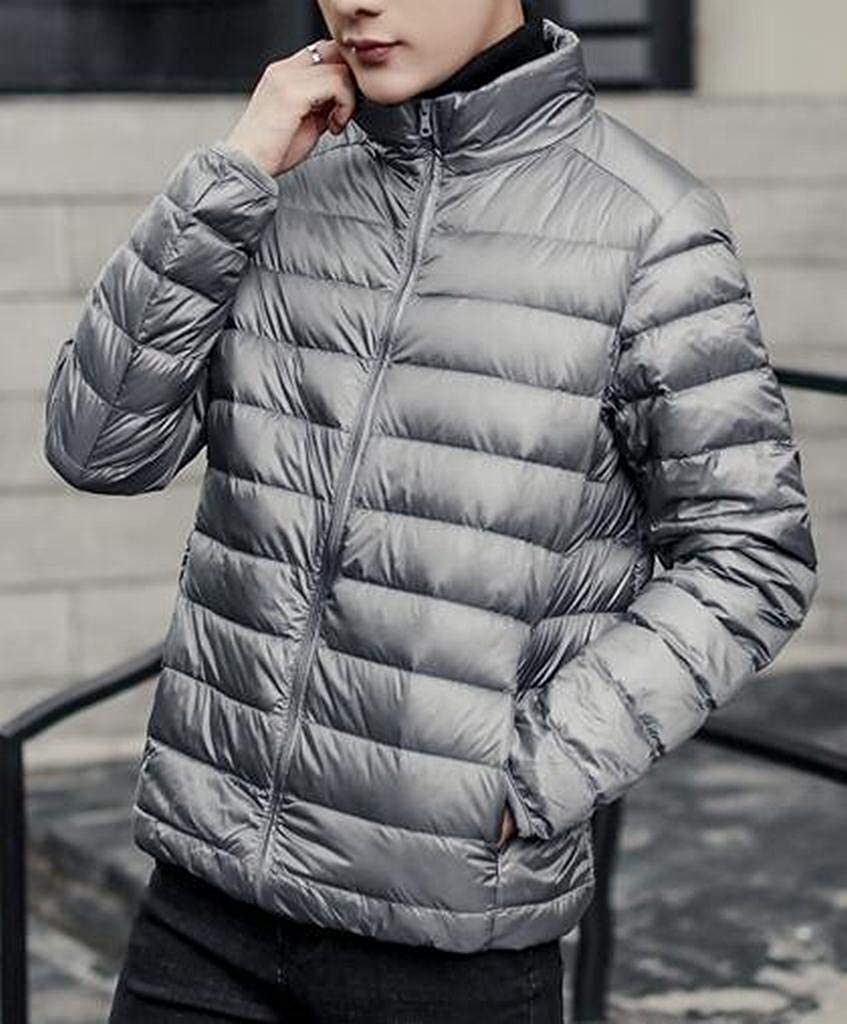 Fubotevic Men Lightweight Warm Solid Color Winter Plus Size Down Quilted Jacket Coat