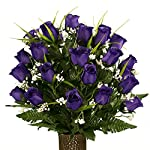 Rubys-Silk-Flowers-Purple-Roses-with-Lily-Grass-featuring-the-Stay-In-The-Vase-DesignC-Flower-Holder-MD1995