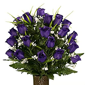 Ruby's Silk Flowers Purple Roses with Lily Grass, featuring the Stay-In-The-Vase Design(C) Flower Holder (MD1995) 48