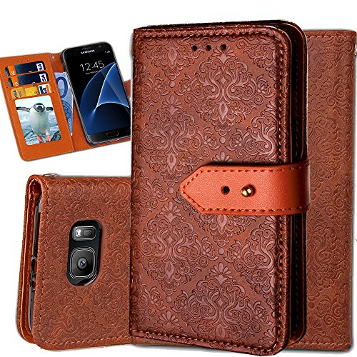 Galaxy S7 Edge Wallet Case,Auker Ultra Slim Vintage Leather Folio Flip Book Style Fold Stand Case Fashion Purse Carrying Phone Cover with Card Holders&Hidden Pocket for Samsung Galaxy S7 Edge (Brown)
