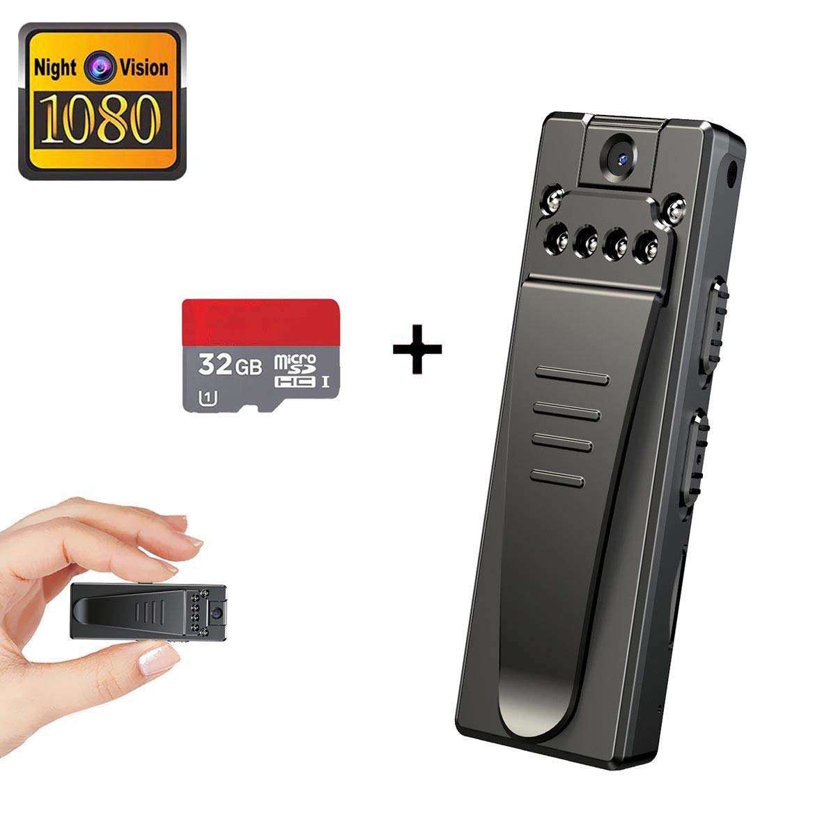 Mini Spy Hidden Camera, Full HD 1080P Portable Mini Nanny Cam with Night Vision and Portable Pocket Clip Wearable Body Camera Video Recorder,Small Security Camera for Home and Office(with 32G Card) by KONPCOIU