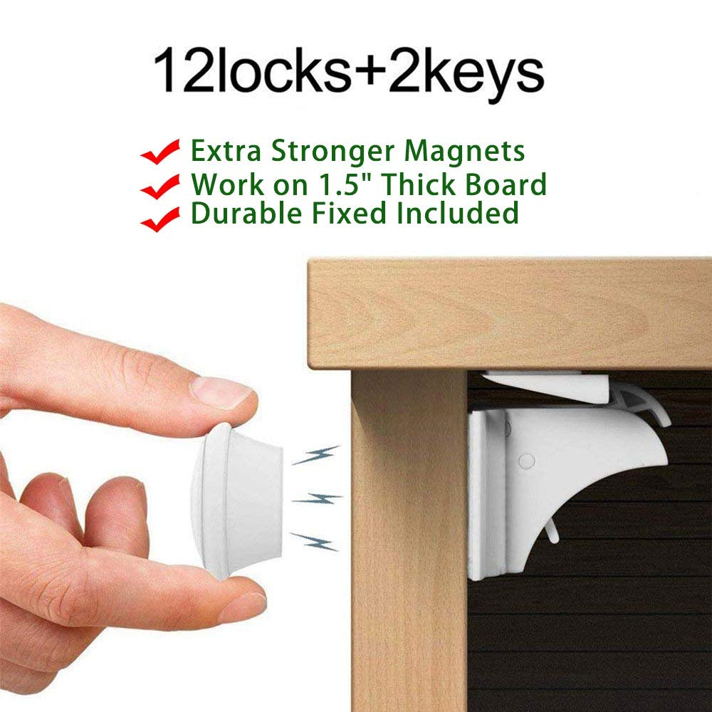 12Pieces Locks+2Pieces Key Child Safety Magnetic Cabinet Locks, Baby Proof, No Tools Or Screws Needed
