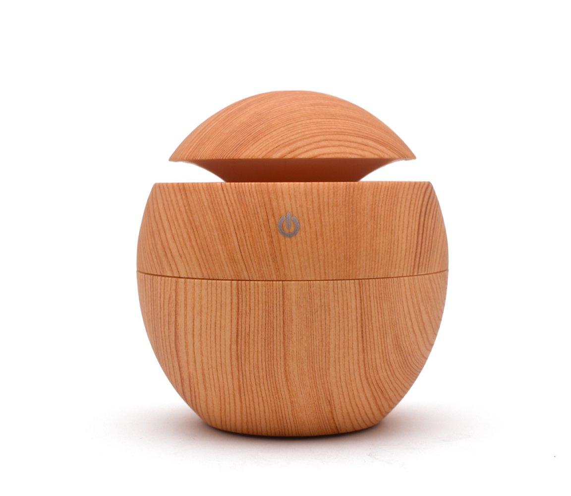 Joney 130ml Mini Humidifier Ultrasonic Essential Oil Aroma Diffuser, Multicolor Breathing Light, Noise-free Operation, Waterless Auto Shut Off (Wood Grain)