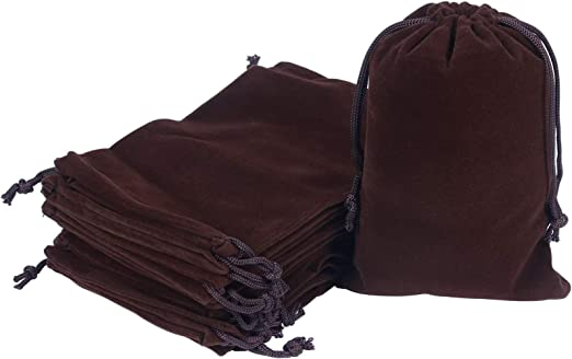 20pcs Velvet Bags with Drawstring, 4.7 X 6.7 inch Brown Cloth Jewelry Pouches Baggies Sacks for Dice Ornament Small Gift