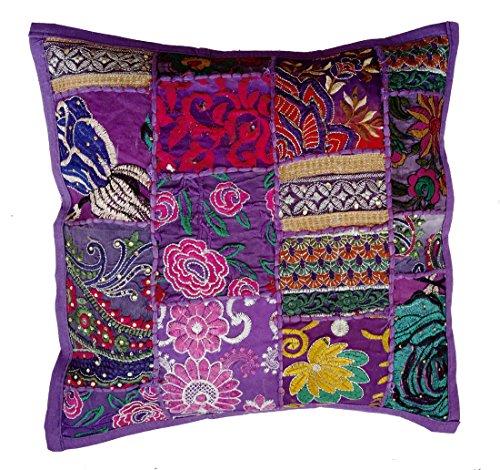 Rastogi Handicrafts Handmade Patchwork Cushion Pillow, Sari Patch Throw Pillow Indian Ethnic Pillow Covers Embroidered Sari Patchwork Cushion Cover (PURPLE) (Cushions Throw Sari Pillows)