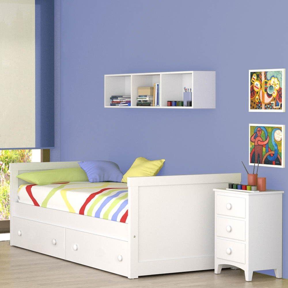 ATLAMP Cama Nido Recto (Colchón 105 x 200, Blanco): Amazon.es ...