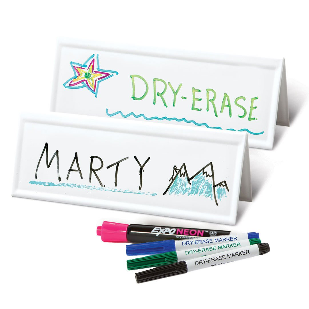 Set of 50 Space-saver Reusable Name Cards, WHITE, dry-erase tent, 8.75'' x 3'' by Trainers Warehouse