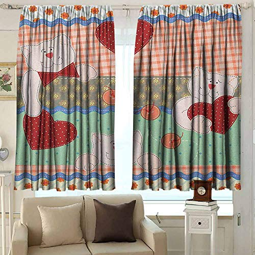 (AFGG Rod Pocket Blackout Drapes Shabby Chic Funny Teddy Bears with Hearts in Patchwork Style Cute Kids Theme Design Print Great for Living Rooms & Bedrooms 63 W x 45 L Inches Multicolor )