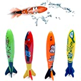 ZoomDream Colorful Pool Diving Torpedo Plastic Summer Beach Dive Toys,Pool Game Swimming Toys