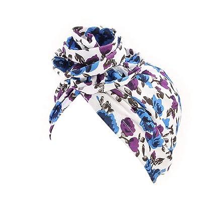 Muslim Hat Women Girls Ladies, Sttech1 India Muslim Stretch Cotton Retro  Floral Turban Hat Head Scarf Wrap Cap (Purple)