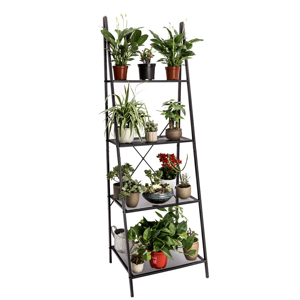 C-Hopetree Ladder Shelf Bookshelf Boocase Indoor Outdoor Plant Stand Storage Rack Display Shelving, 4-Tier Industrial Accent Home Office Furniture, Black Metal Frame by C-Hopetree