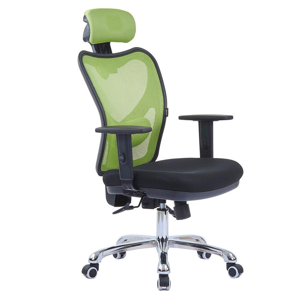 LSCING Mesh Office Chair - Adjustable Tilt Angle, Arms, Lumbar Support and Headrest High Back Computer Desk Task Chair, Green&Black