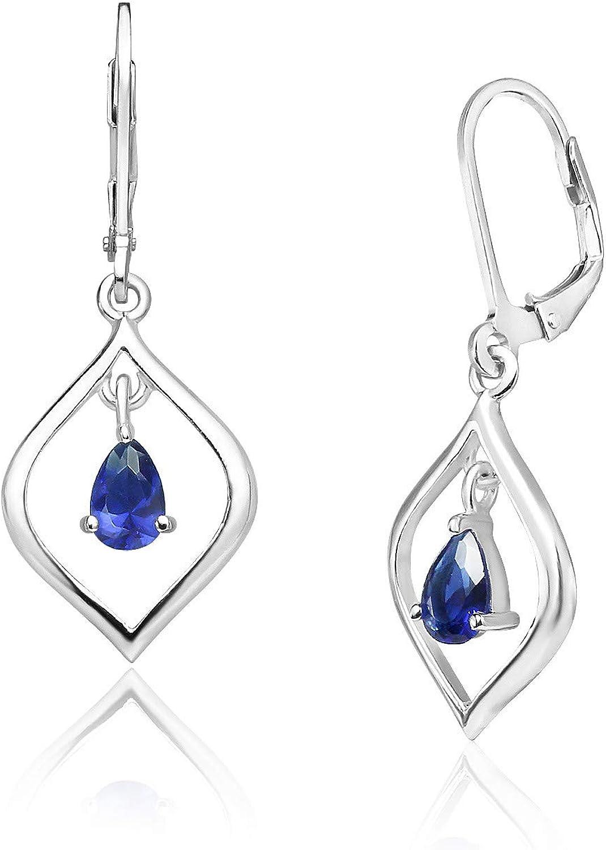 Big Apple Hoops - Genuine 925 Sterling Silver ''Royal Blue Lover'' Sapphire Glass Stone Swing in Teardrop Hoop Dangle Hook Earrings | in Beautiful Polish Finish