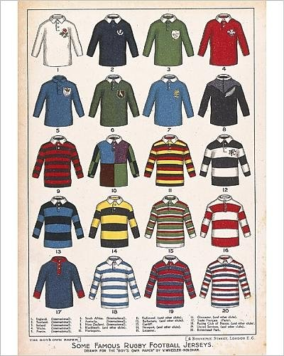 Photographic Print of Some Famous Rugby Football Jerseys (Jersey Print Rugby)