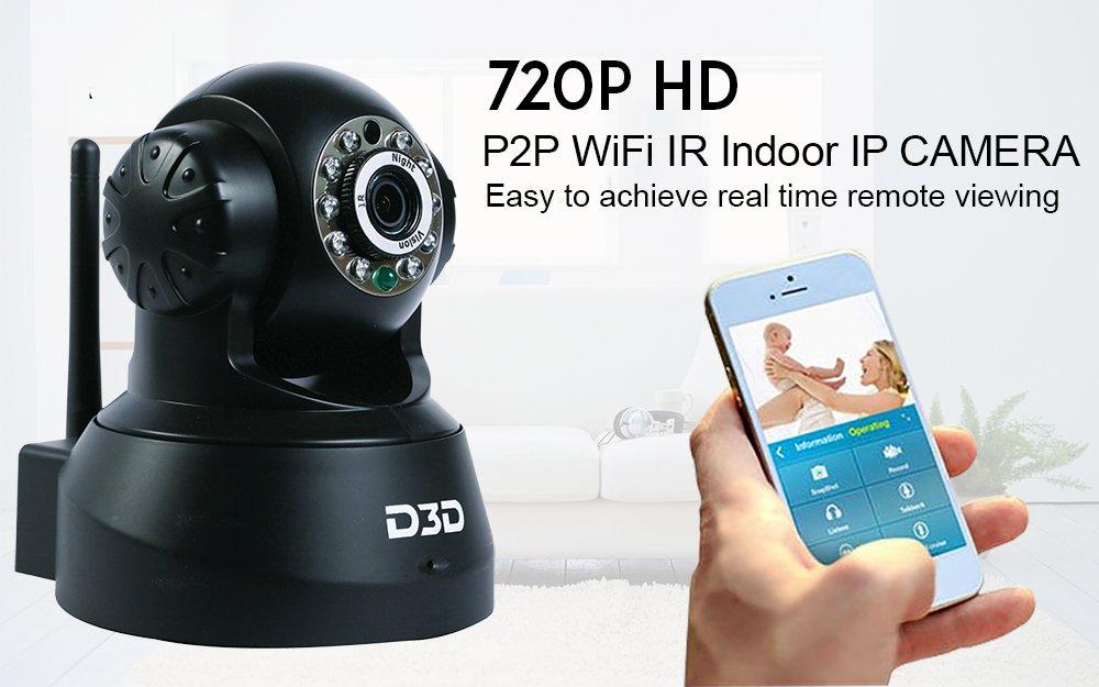 Cámara de vigilancia CCTV inalámbrica HD de D3D con Wifi. Cámara de seguridad interior (compatible con tarjeta micro SD) en color negro. Modelo: JPT-3815.