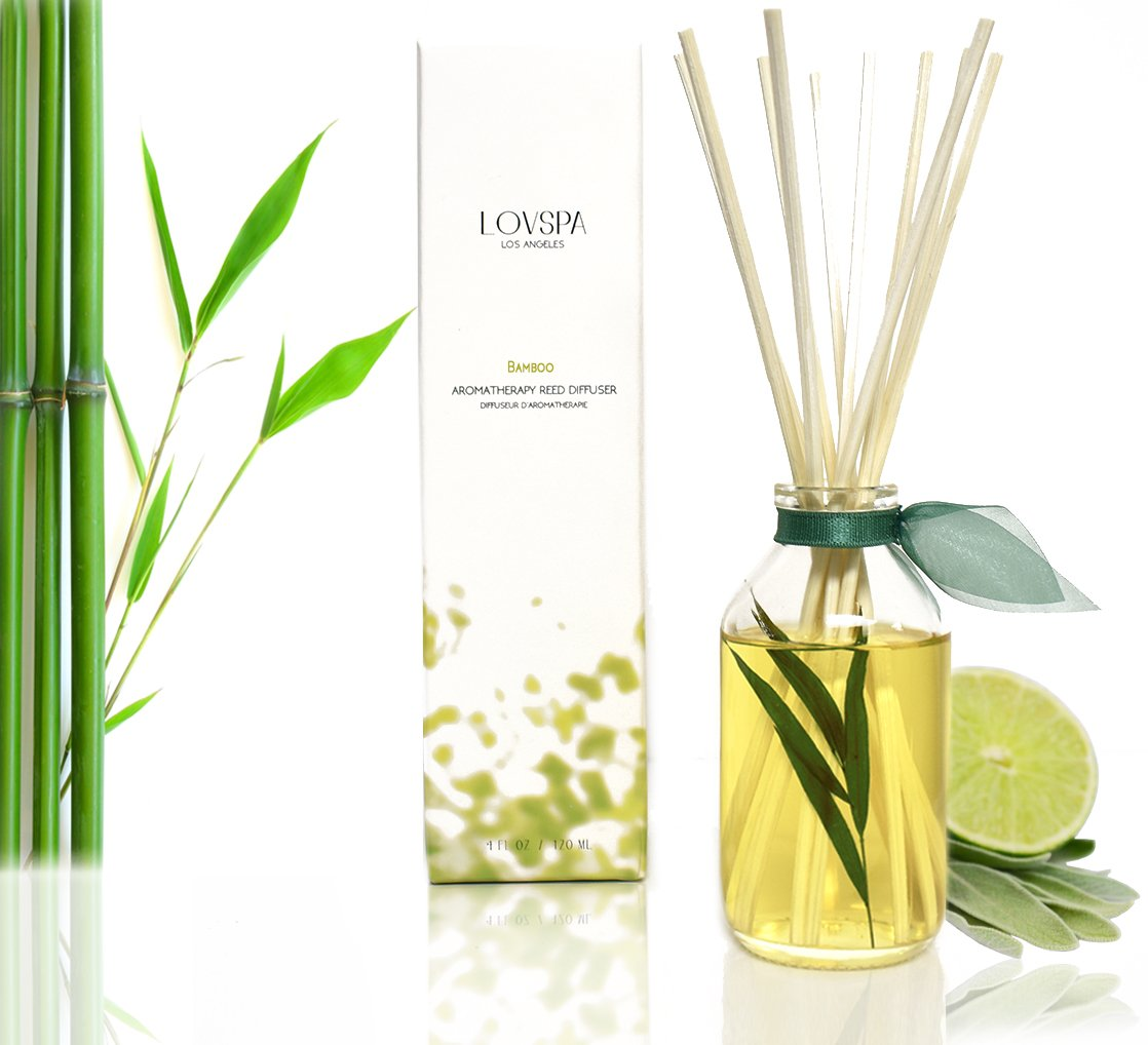 LOVSPA Bamboo Citrus Essential Oil Reed Diffuser Set Zesty White Lime & Crisp Bamboo | Tart Citrus Scent The Kitchen Bathroom | Makes a Great Gift New Homeowners