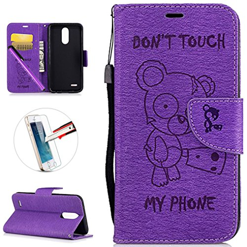 LG K10 2017 Case,LG LV5 Case, ISADENSER PU Leather Shockproof Don't Touch My Phone Design Cute Bear Embossed Magnetic Closure Book Style Wallet Case Cover for K20 V/LG K20 Plus, Purple Bear ()