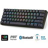 LeaningTech LTC-K61 メカニカルキーボード 61キー マクロ記録機能 60%レイアウト Bluetooth RGB バックライト付 ワイヤレス/ケーブル接続可能 スマホ タブレット パソコン PBTキ ーキャップ バッテリー内蔵 (青軸)