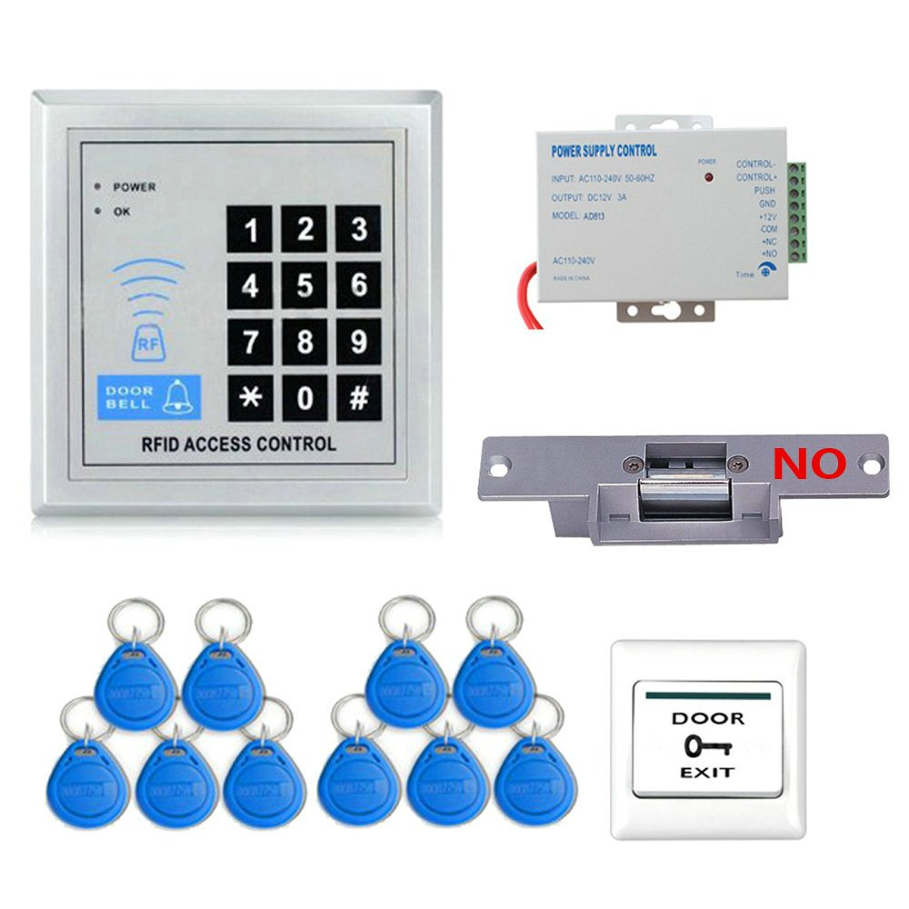 MOUNTAINONE Full RFID Door Access Control System Kit Set(Electric Strike Lock+Armature Faceplate+Access Control Power Supply+Push Release Button+Proximity Door Entry keypad+10 Key Fobs)