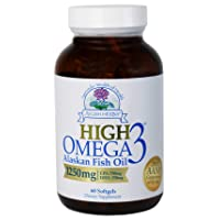 Ayush Herbs High Omega-3 Herbal Supplement for Brain, Heart, and Joint Health, Omega-3 Alaskan Fish Oil Supplements for Men and Women, 60 Softgels