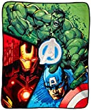 Disney Marvel Avengers Plush Throw - Measures 50'' x 60'' Super Soft Polyester Bedding Features Iron Man, Hulk, Captain America, Machine Washable (Official Marvel Product)