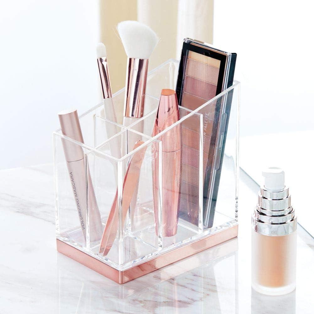 Decorativa Caja para Guardar cosm/éticos como esmaltes de u/ñas o polveras mDesign Pr/áctico Organizador de Maquillaje Transparente//Plateado Mate Expositor de Maquillaje con 5 Compartimentos