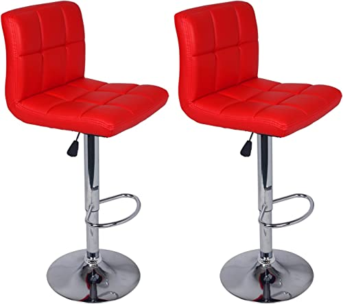 Set of 2 Barstools Adjustable Swivel Faux Leather Square Stitch Design Red Color