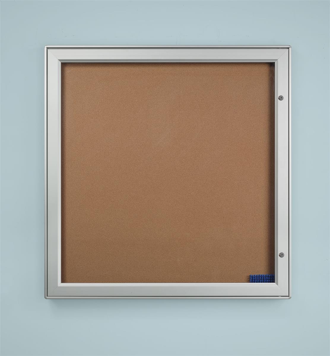 Displays2go 41 x 41.25 Inches Enclosed Bulletin Board with Swing-Open Locking Door - Silver Aluminum Frame (ODNBCB12A4)