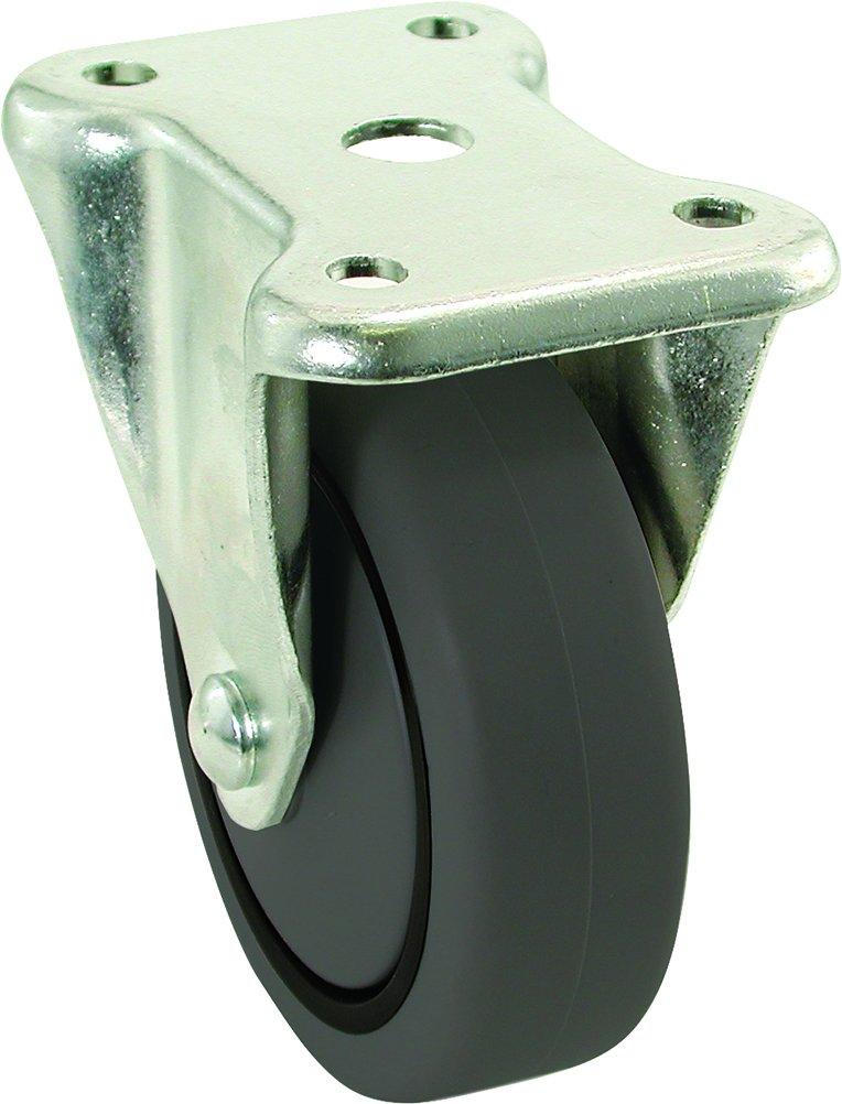 Shepherd Hardware 9019 5-Inch Rigid Plate Caster, Rubber Wheel, 325-lb Load Capacity