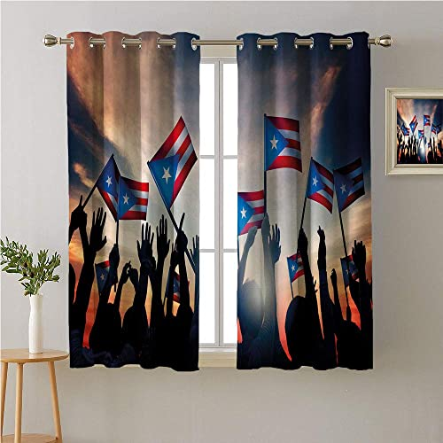 Mozenou Puerto Rico Grommets Curtain for Kitchen Window Celebrating People Silhouettes Pattern with Flags Happy Occasion Themed Print Noise Isolation Darkening Curtains 63W x 45L
