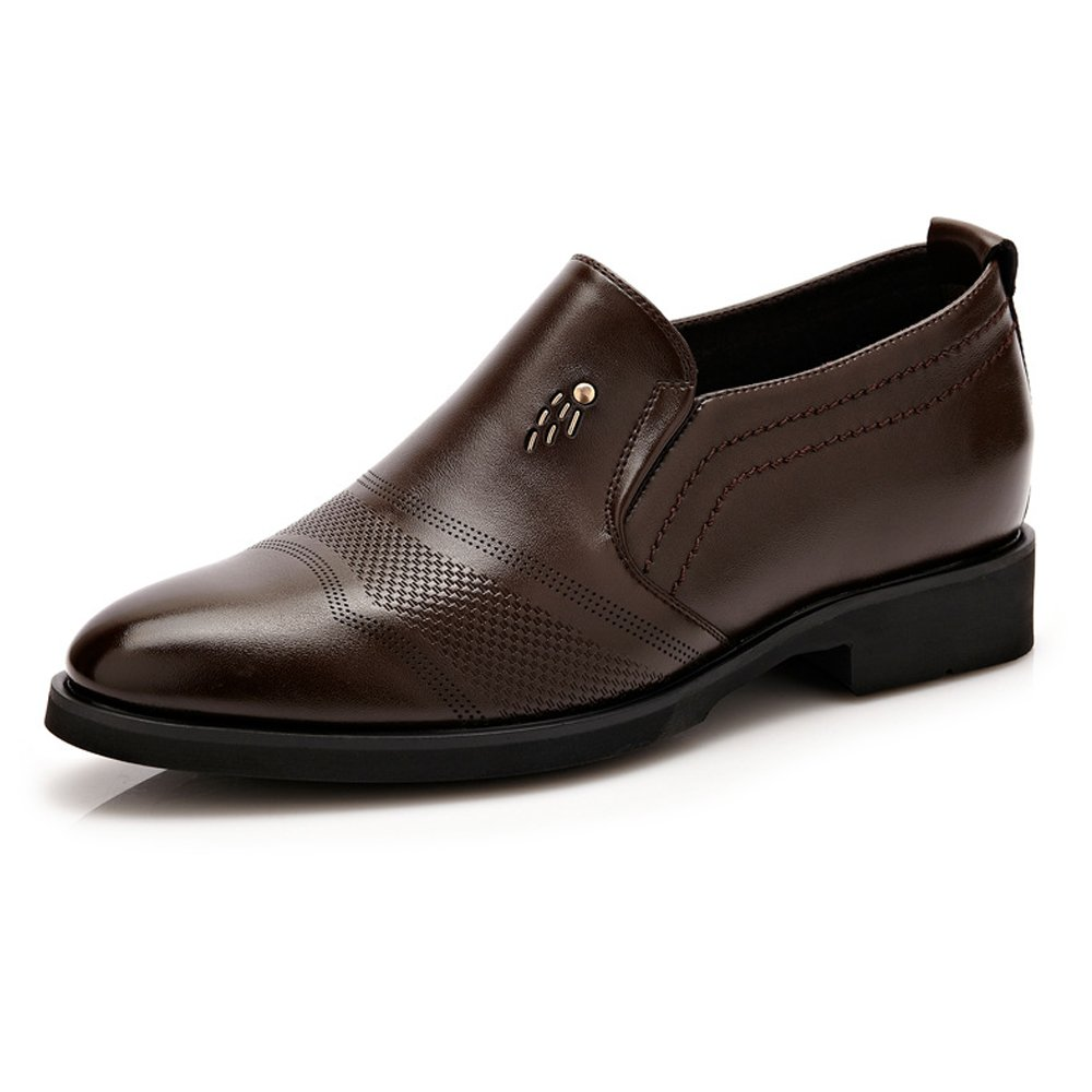 Brown JIALUN-shoes for Gentlemen Classic Formal Men's Leather shoes Slip-on Height Increasing 6cm Breathable Business Oxfords