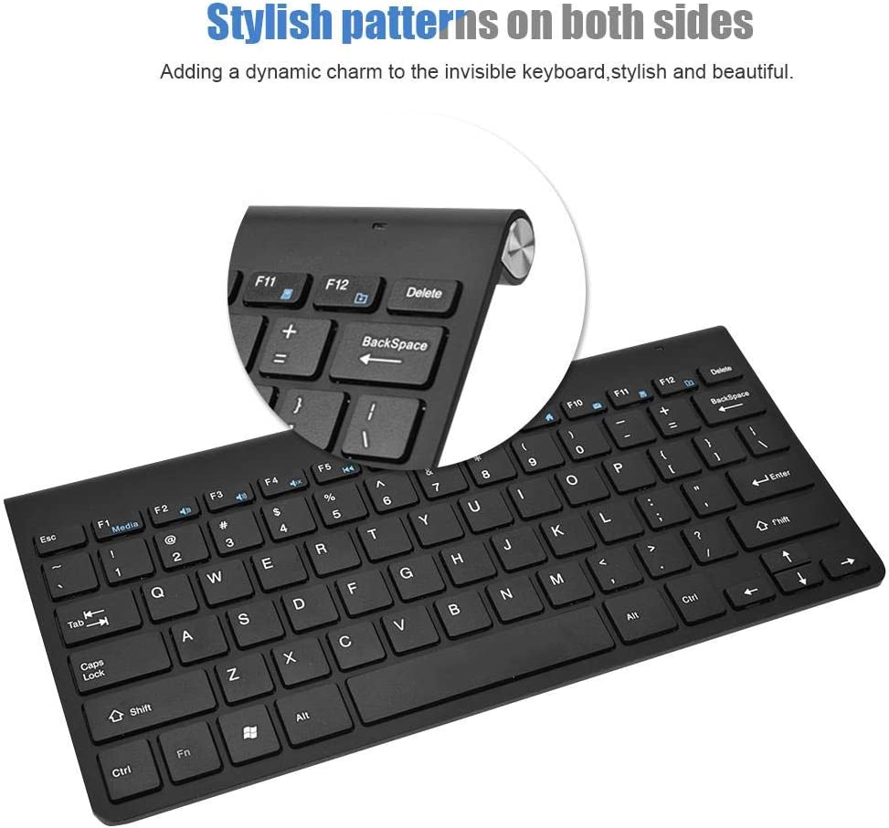 for Travel//Home//Office fosa 2.4G Wireless Keyboard Super Thin Keyboard with Receiver for Computer//Desktop//PC//Laptop//Surface//Smart TV and Windows 10//8 // 7 Battery Operated not Include Black