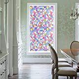 DuoFire Decorative Film Privacy Window Film Stained Glass Film Geometric Circle Pattern No Glue Anti-UV Removable Window Cling Non-Adhesive window privacy film D95-Y08, (35.4in. x 118in.) 90cm x 300cm