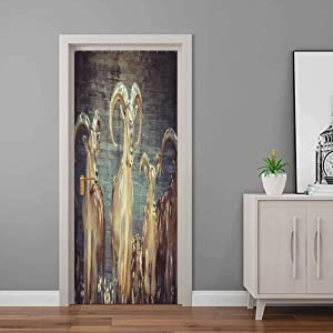 Antlers Decor 3D Wallpaper Capricorn Group of Spanish Ibex Under Shade Sunbeams Animal Nature Picture Print Door Stickers Decor for Home Decor Beige Charcoal   30